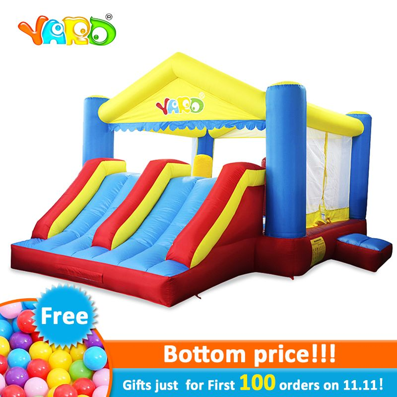 YARD Inflatable Trampoline with Obstacle Slide Kids 5*4*2.7M Outdoors Inflatable Games Bouncy Sports Christmas Gift Ship Express