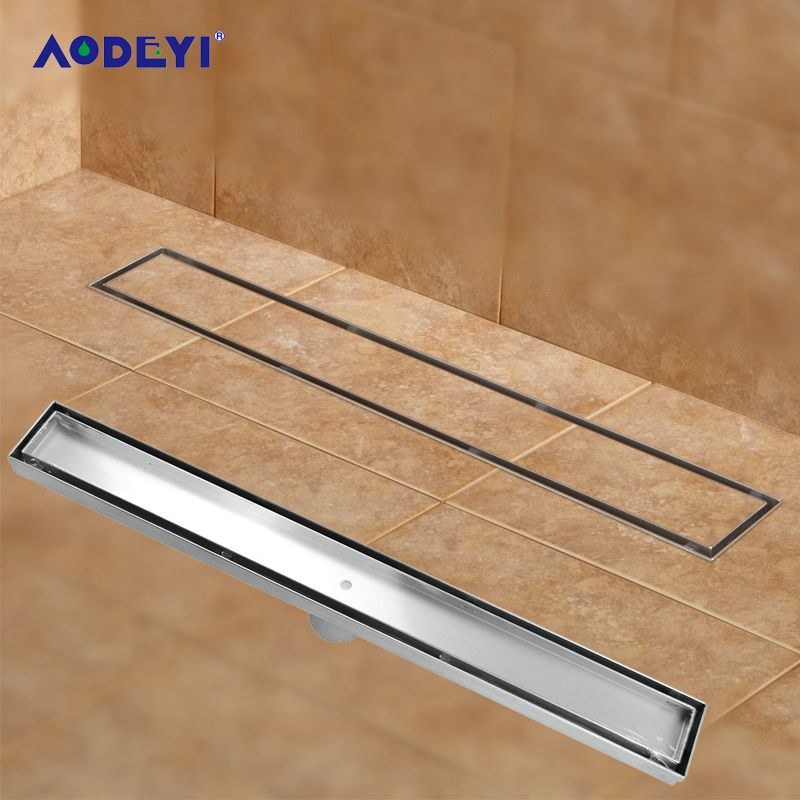 AODEYI 304 Stainless Steel 60cm Tile Insert Rectangular Linear Anti-Odor Floor Drain Bathroom Hardware Invisible Shower 11-208