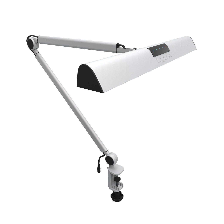 A509 LED Schwinge Architekten Schreibtisch Lampe Clamp, Touch Tischlampe für Dach-lesearbeitsscheinwerfer Silber 2 Beleuchtung Modi, 4-level Dimmbare