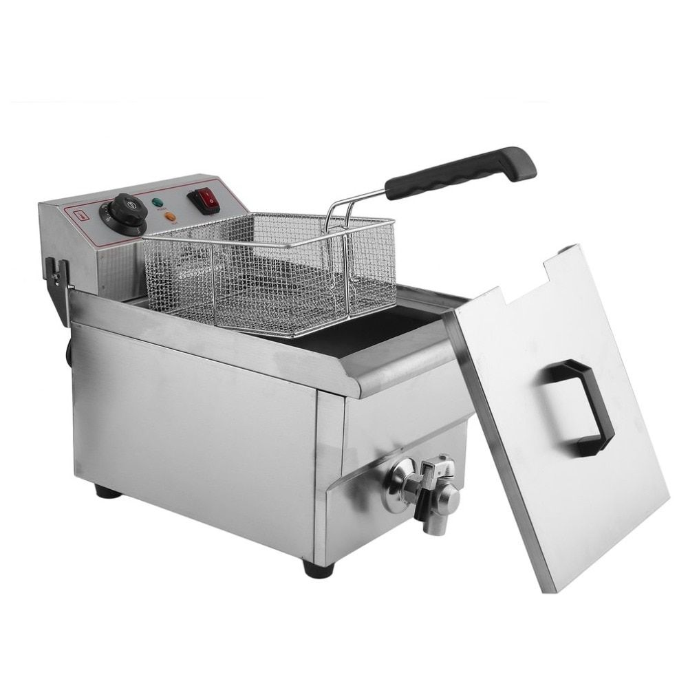 Stainless Steel Commercial Professional Cylinder Sieve Electric Deep Fryer 10 Liter With Oil Pot Filter Fried Chicken Tools
