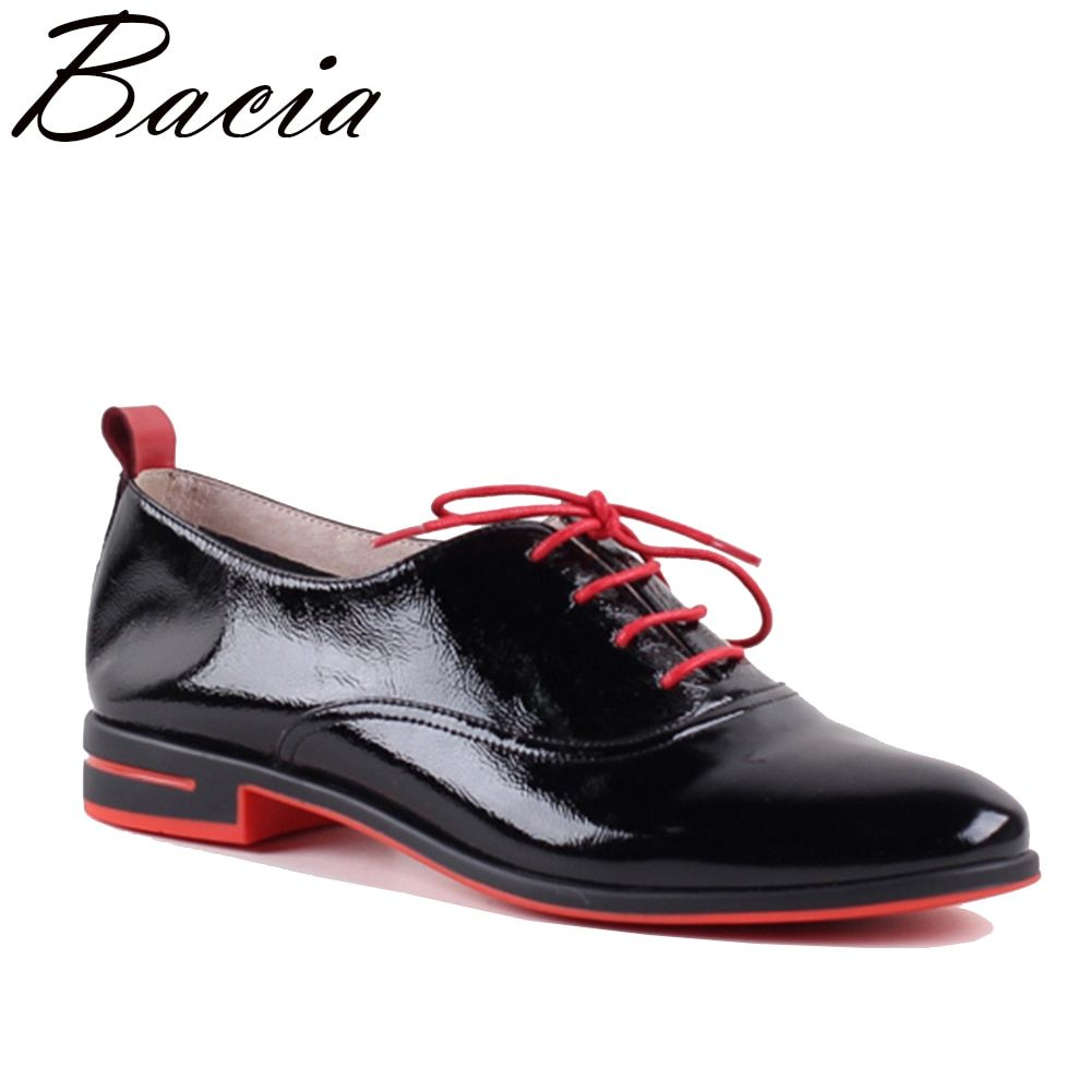 Bacia Genuine leather flat shoes women handmade Color matching Lace Up Patent leather shoes Vintage classic leather shoes SB074