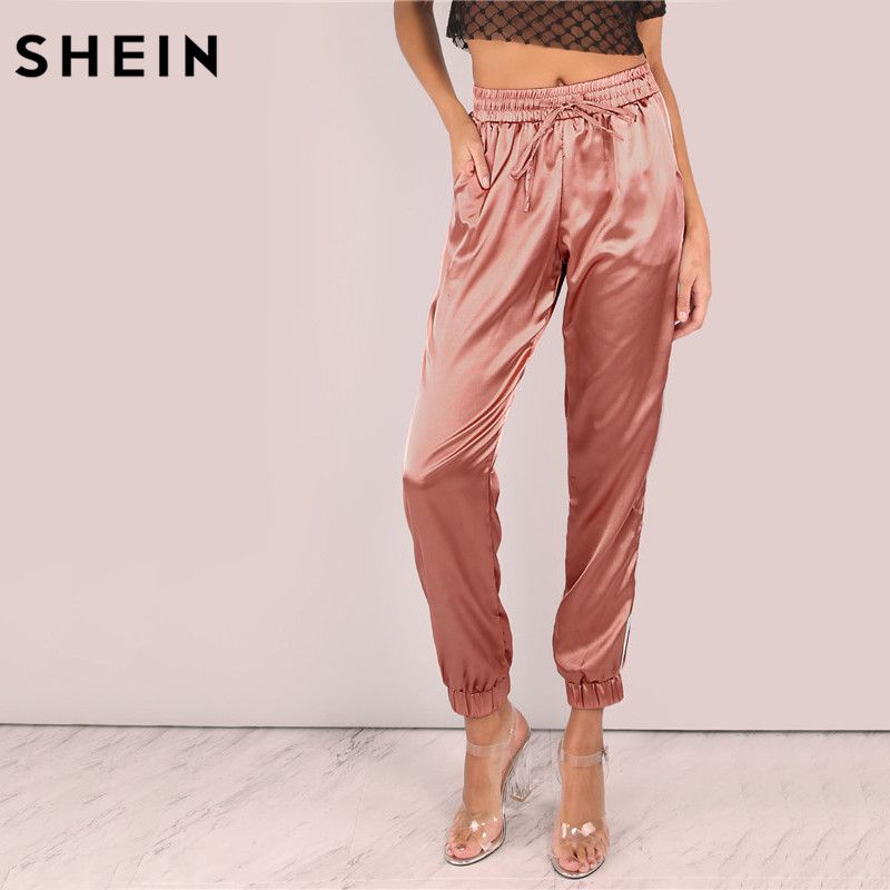 SHEIN Mid Waist Pants Women Satin Luxe Trainer Joggers Drawstring Waist Casual Trousers Women Loose Sweatpants
