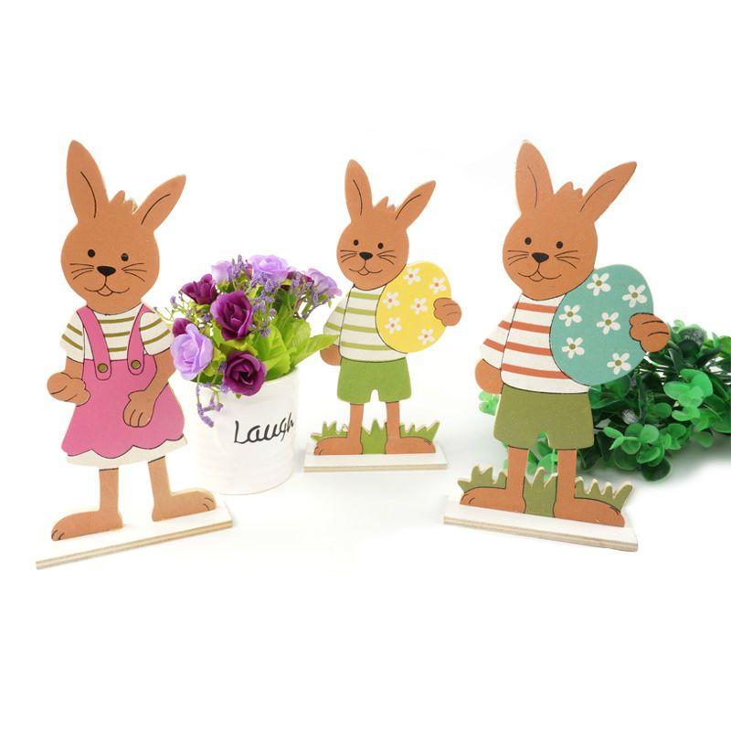 Украшение пасхального кролика 3 типа/набор деревянной Пасхальный кролик и Пасхальное яйцо подарок для украшения дома пасхальное яйцо беспл...