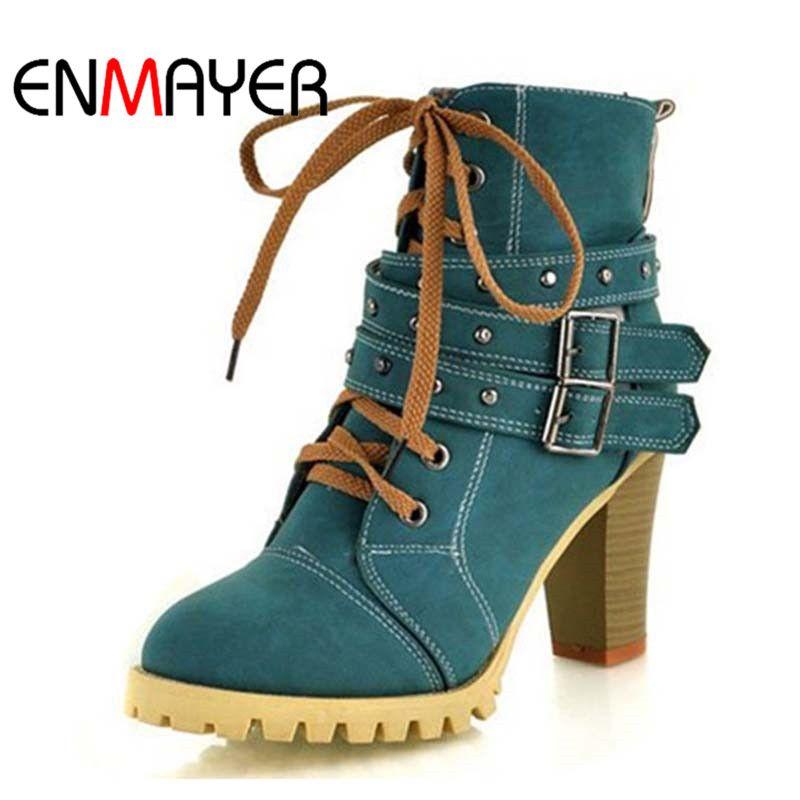 ENMAYER/Модные женские сапоги Стиль Кружево на шнуровке сапоги на высоком каблуке водонепроницаемые ботильоны на платформе, женская обувь нов...