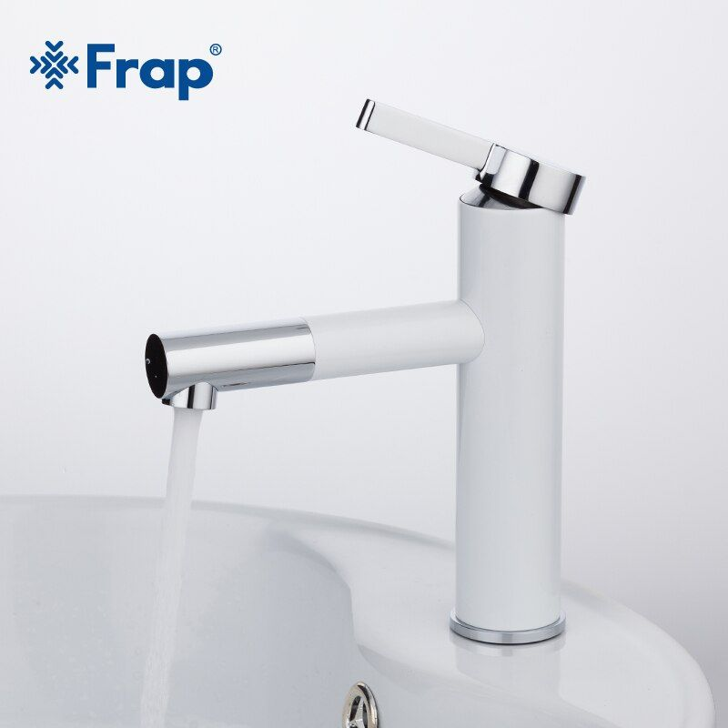Frap New Arrival White Spray Painting Basin Taps Bathrooms <font><b>Crane</b></font> Torneira with Aerator 360 Free Rotating F1052-14.
