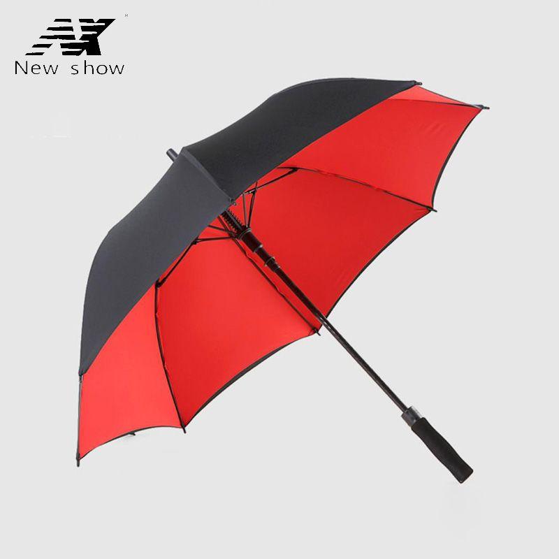 Double couche longue poignée Golf parapluie homme femmes pluie coupe-vent parapluie hommes hommes hommes parapluies Logo personnalisé crème solaire Fiber de verre