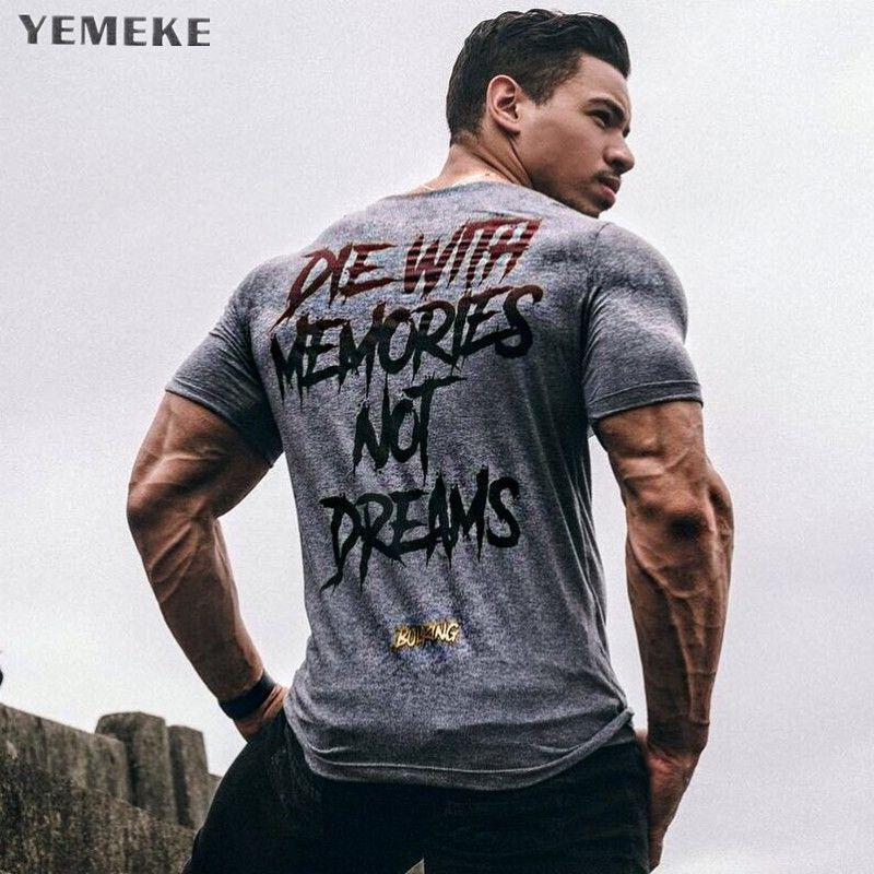 YEMEKE nouveaux hommes à manches courtes coton t-shirt été décontracté mode gymnases Fitness musculation t-shirt mâle t-shirts hauts vêtements
