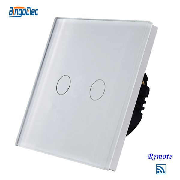 2gang1way white glass touch remote light switch,Wireless touch remote control switch EU/UK standard  AC110-250V