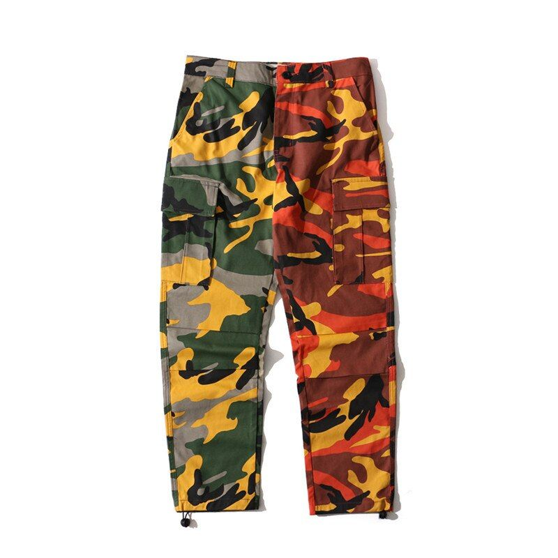Pink and Orange Camo Pant With Pockets Fashion Women Camouflage Pant High Waist Hiphop Girls Military Pant Jogger Dance Pant