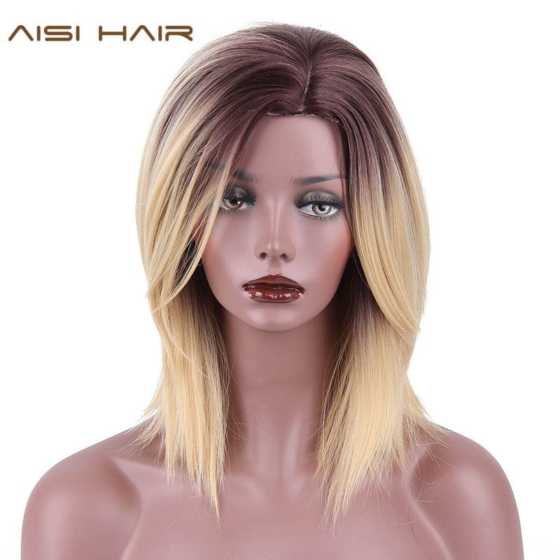 AISI HAIR 16 High Temperature Fiber Short Straight <font><b>Synthetic</b></font> Ombre Blonde Color Wigs for Women Black Hair