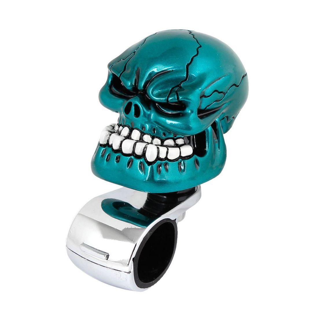 Car Blue Skull Head Style Steering Wheel Knob Silver Tone Handle