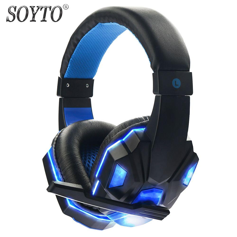 SOYTO SY830MV Original casque de jeu filaire pour PC LED stéréo basse casque lumineux Fone de Ouvido Auriculares avec micro