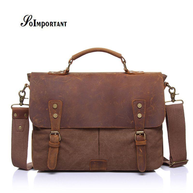 Genuine Leather Oil Wax Canvas Men Bags Male Crazy Horse Handbags Men's Crossbody Messenger Travel Bags Tote Laptop Briefcases