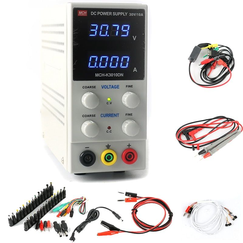 MCH-K3010DN 30V 10A 0.01V/0.001A 4-digit display Adjustable Switching Laboratory DC Power Supply +DC Jack Sets for laptop repair