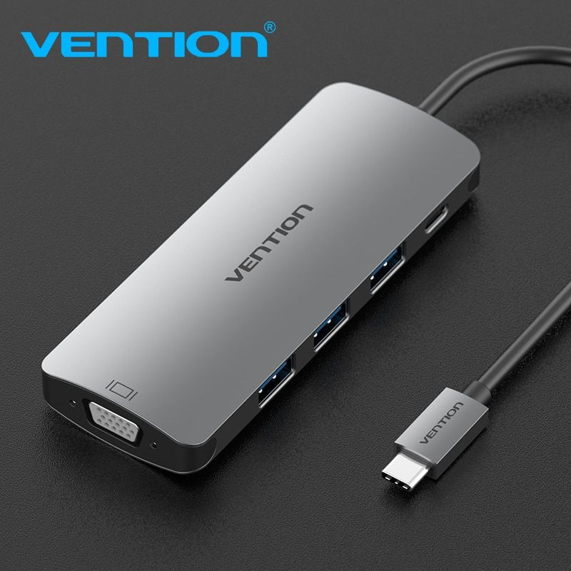 Vention USB C Adapter USB-C to 3.0 HUB VGA Thunderbolt 3 Adapter for MacBook Samsung Galaxy S9/S8 Huawei P20 Type C Converter