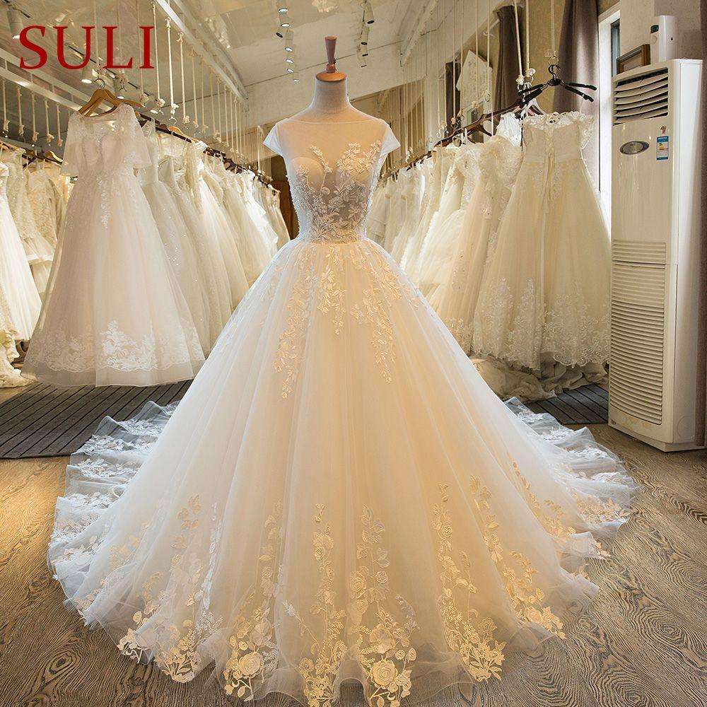 SL-46 Sexy 2017 robe de mariage Vestido de Boda Del Cordón Del Vintage Perla