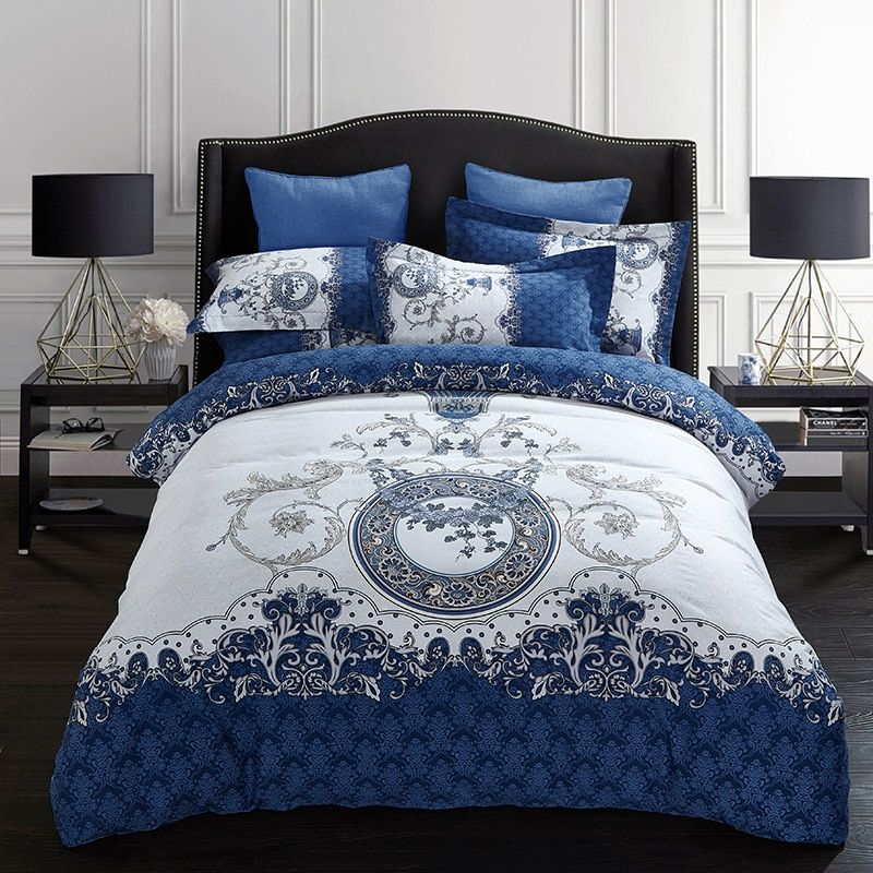Svetanya Sheet Pillowcases & Quilt cover Sets 100% Sanding Cotton Bedlinen Queen Full King Size Bedding Set Blue and White