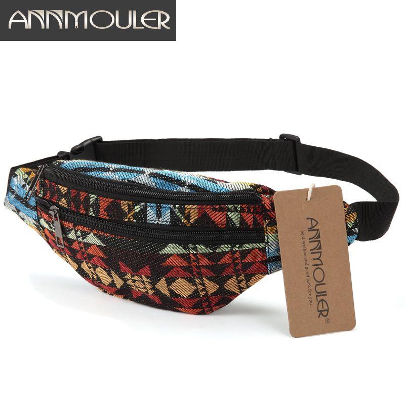 Annmouler nouveau femmes Fanny Pack 8 couleurs tissu taille Packs Style bohème taille sac 2 poche taille ceinture sac voyage téléphone pochette