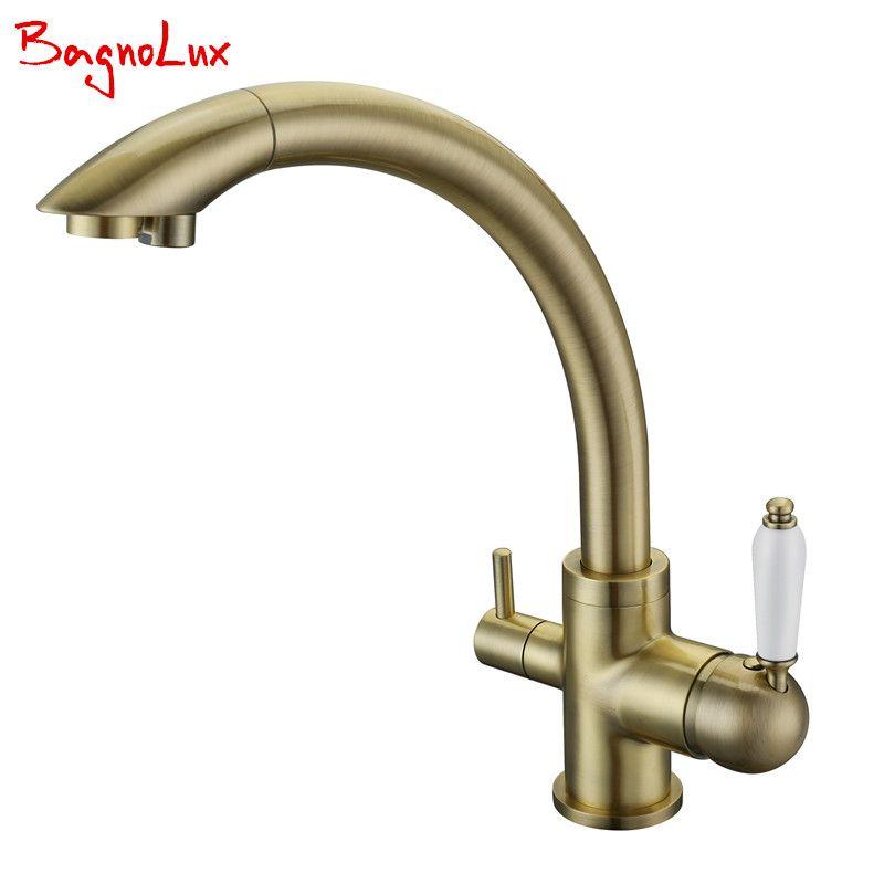 Factory Direct Modern 100% Solid Brass Three Ways Alba Black Kitchen Faucet Osmosis Tri Flow Sink Mixer 3 Way Water Filter Tap