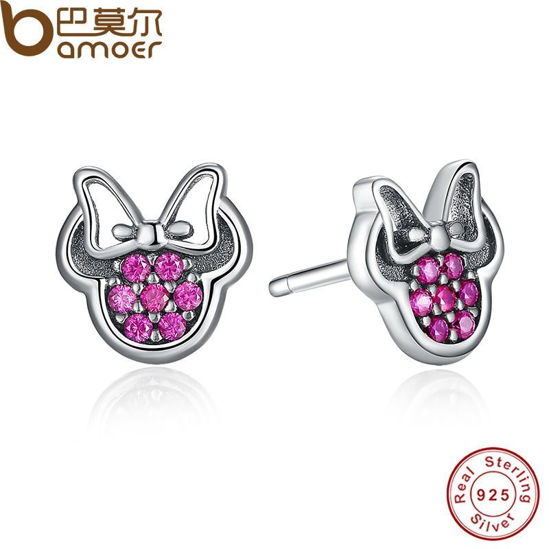 BAMOER Presents 925 Sterling Silver Red Mickey Shape Sparkling Minnie Fashion Jewelry Special Store PAS414