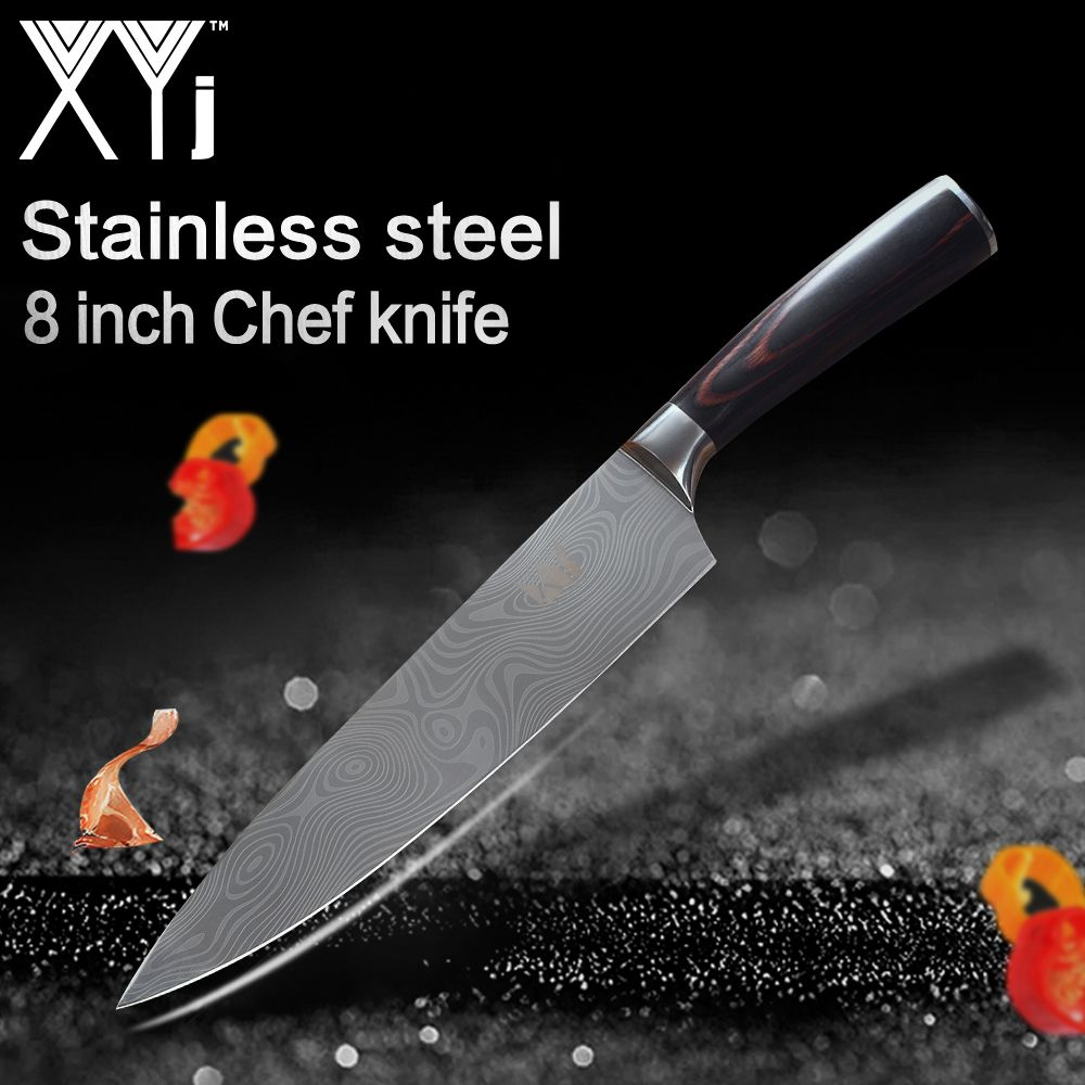 XYj Stainless Steel Kitchen Chef Knife 7cr17 8 inch Frozen Meat Cutter Bend Handle Chef Kitchen Knife Vegetable Slicer Cutter