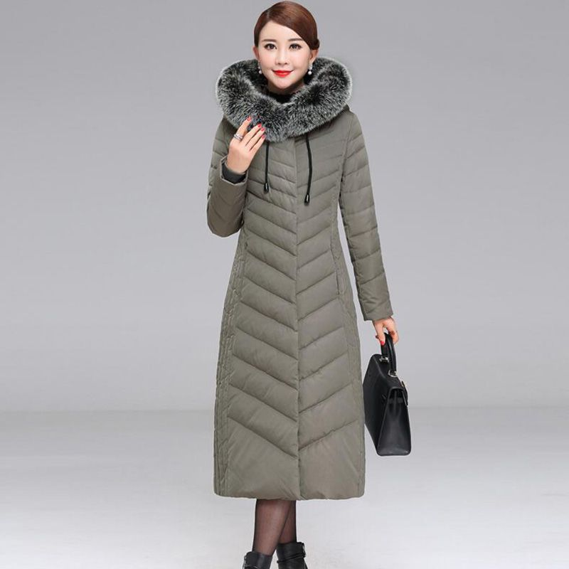 2018 Middle-aged Women's Winter White duck down Jacket Hooded Long Coat Slim Thicken Warm fox Fur collar Down Jackets Plus size