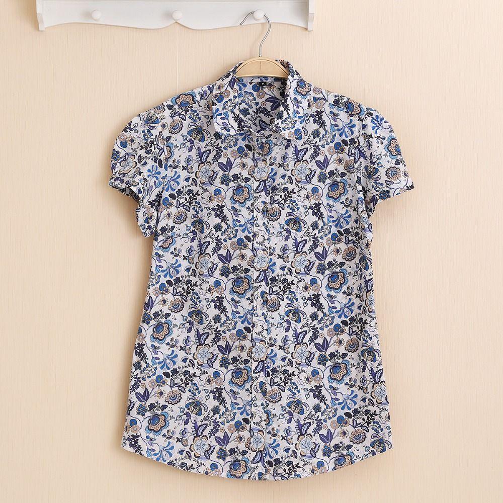 Dioufond Femmes D'été Tops Plus La Taille Chemise À Manches Courtes Plage Coton Floral Blouse Tournent Vers Le Bas Chemise Blusa Femmes Casual top