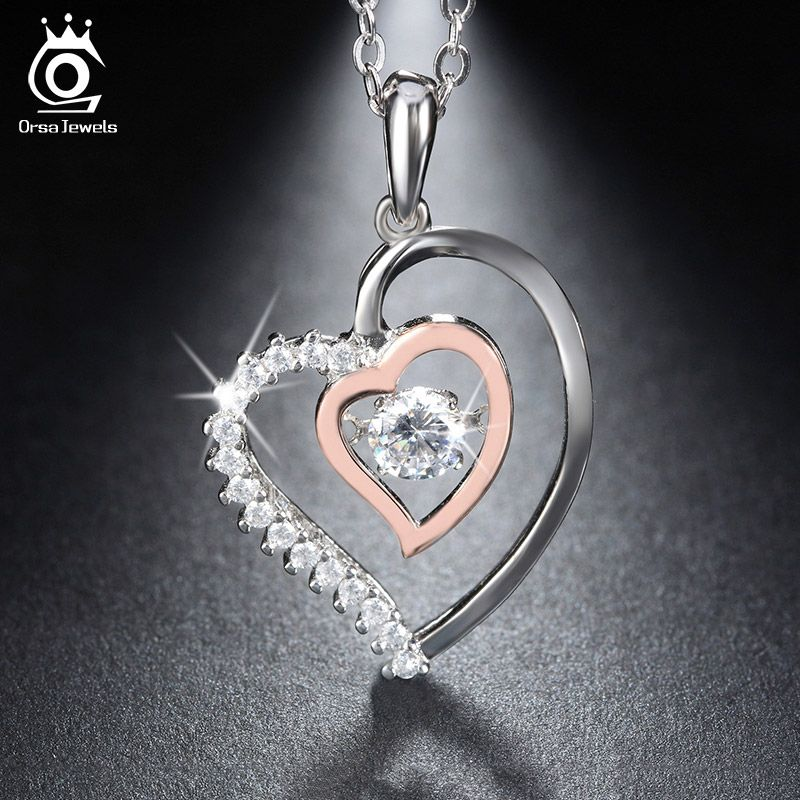 ORSA JEWELS Genuine 925 Silver Double Heart Pendant Necklace with 0.3 ct Crystal Rhodium mixed Rose <font><b>Gold</b></font> Color Necklaces SN15