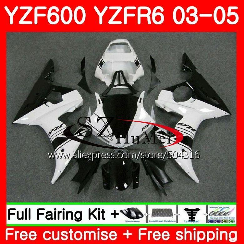 Body New White For YAMAHA YZF600 YZF R6 R 6 03 YZF 600 Bodywork 67MC.5 YZFR6 03 04 05 YZF-R600 YZF-R6 2003 2004 2005 Fairings