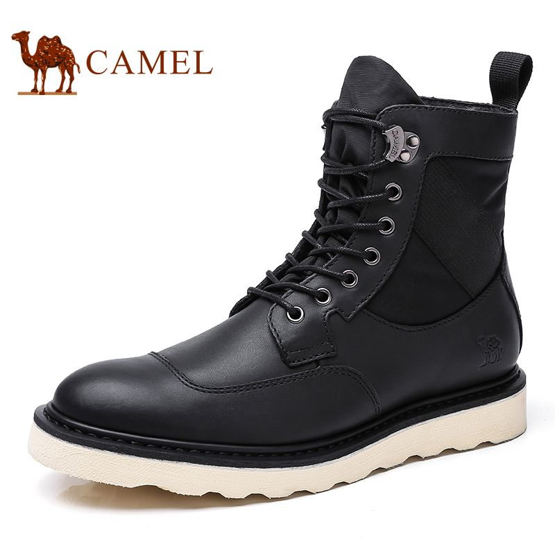 CAMEL Men's Shoes Autumn Martin Boots British Trend Thick-soled Cowhide Leather Footwear Army Military Botas Werkschoenen