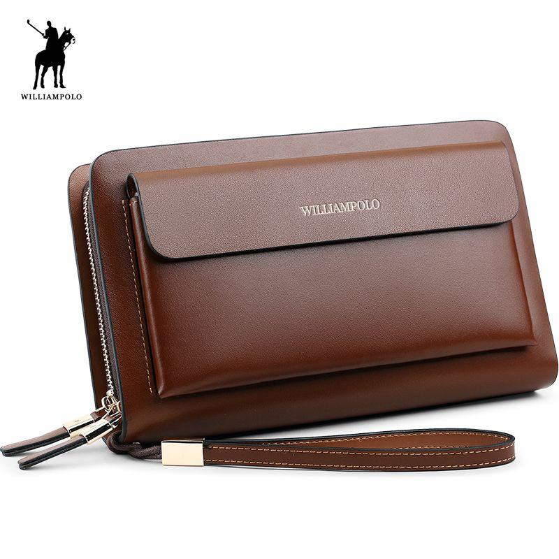 WilliamPOLO 2018 Marke Mode Hohe Qualität Designer Brieftasche Business Münzfach Telefon Fall Mappen-luxus Wallet Männer POLO162