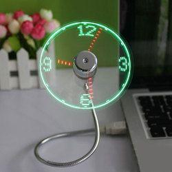 Nouveau Durable Réglable USB Gadget Mini Flexible LED Lumière USB ventilateur Temps Horloge De Bureau Horloge Cool Gadget Temps Affichage Haute qualité