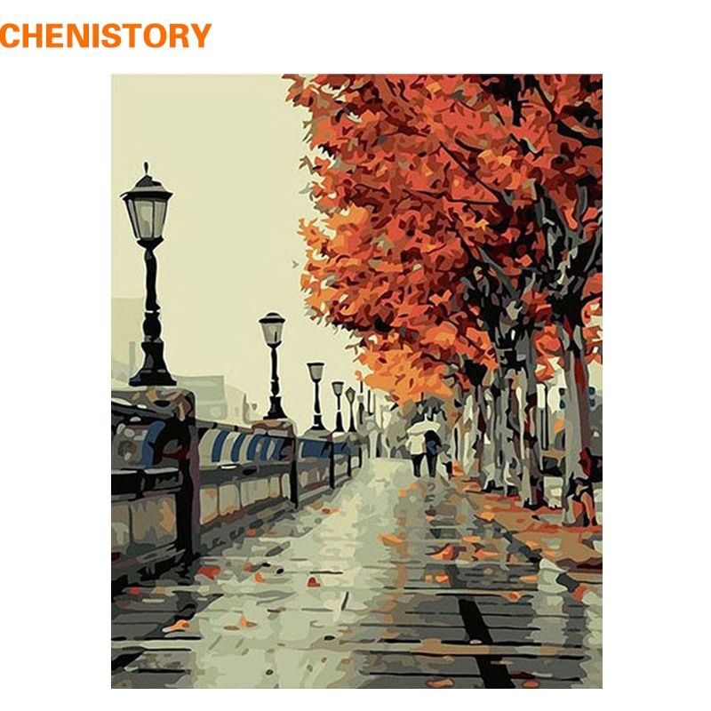 CHENISTORY Autumn Walk In Yellow Tree Road Landscape DIY Oil Painting By Numbers Handpainted By Yourselve With Inner Framed