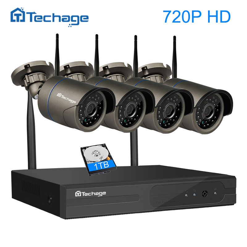 Techage <font><b>Plug</b></font> and Play 4CH 1080P HD Wireless NVR Kit P2P 720P Indoor Outdoor IR Night Vision Security IP Camera WIFI CCTV System