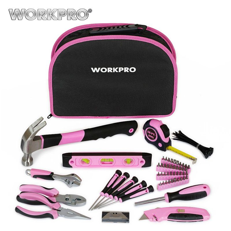 WORKPRO 103PC Pink Tool Set Home Tool Kits Hand Tools Hammers Pliers Saws Screwdrivers Wrenches Tapes