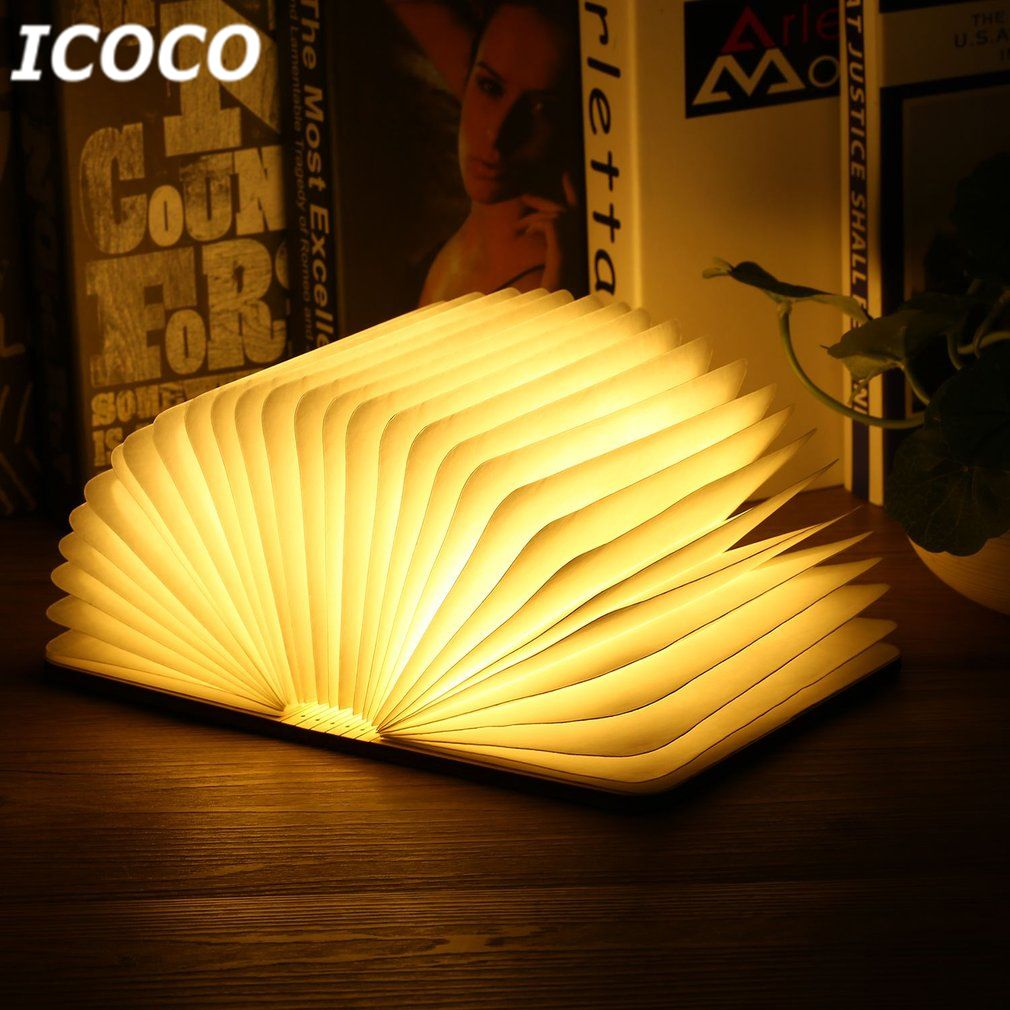 ICOCO Portable LED rechargeable par usb magnétique pliable en bois livre lampe veilleuse lampe de bureau offre spéciale pour la décoration de la maison livraison directe