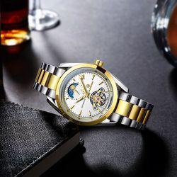 Laogeshi merek Tourbillon berongga tahan air jam tangan pria bercahaya menonton mekanik otomatis 24 jam tampilan fase Bulan Relojes