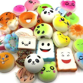5 Pcs/lot Toys Squishy Cat Bread Cake Bun Donut Keychain Kawaii Ice Cream Squishy Slow Rising Antistress Squishe Food