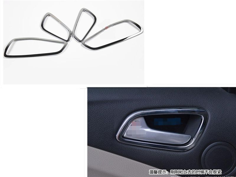 Car styling Door Handle Bowl Covers Trim interior inner Frame  Fit For Ford Escape Kuga 2013 2014 2015 abs chrome 4pcs per set