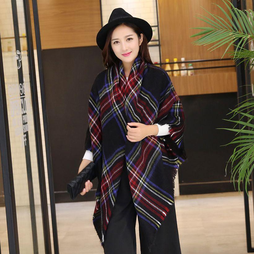 Nouveau Design grand Plaid taille mode imprimé femmes écharpe chaude acrylique Long épais dames châles Hijab hiver Wrap femmes écharpes