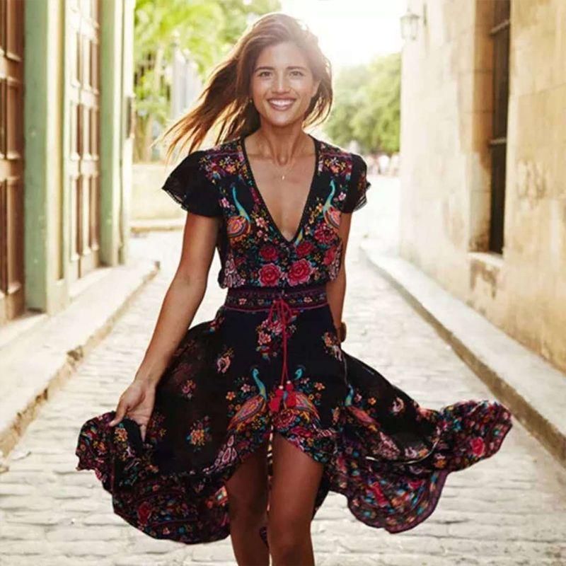 UZZDSS 2019 nouvelles femmes été Boho plage Maxi robe Sexy col en V Vintage imprimé longues robes décontracté robe d'été vestidos