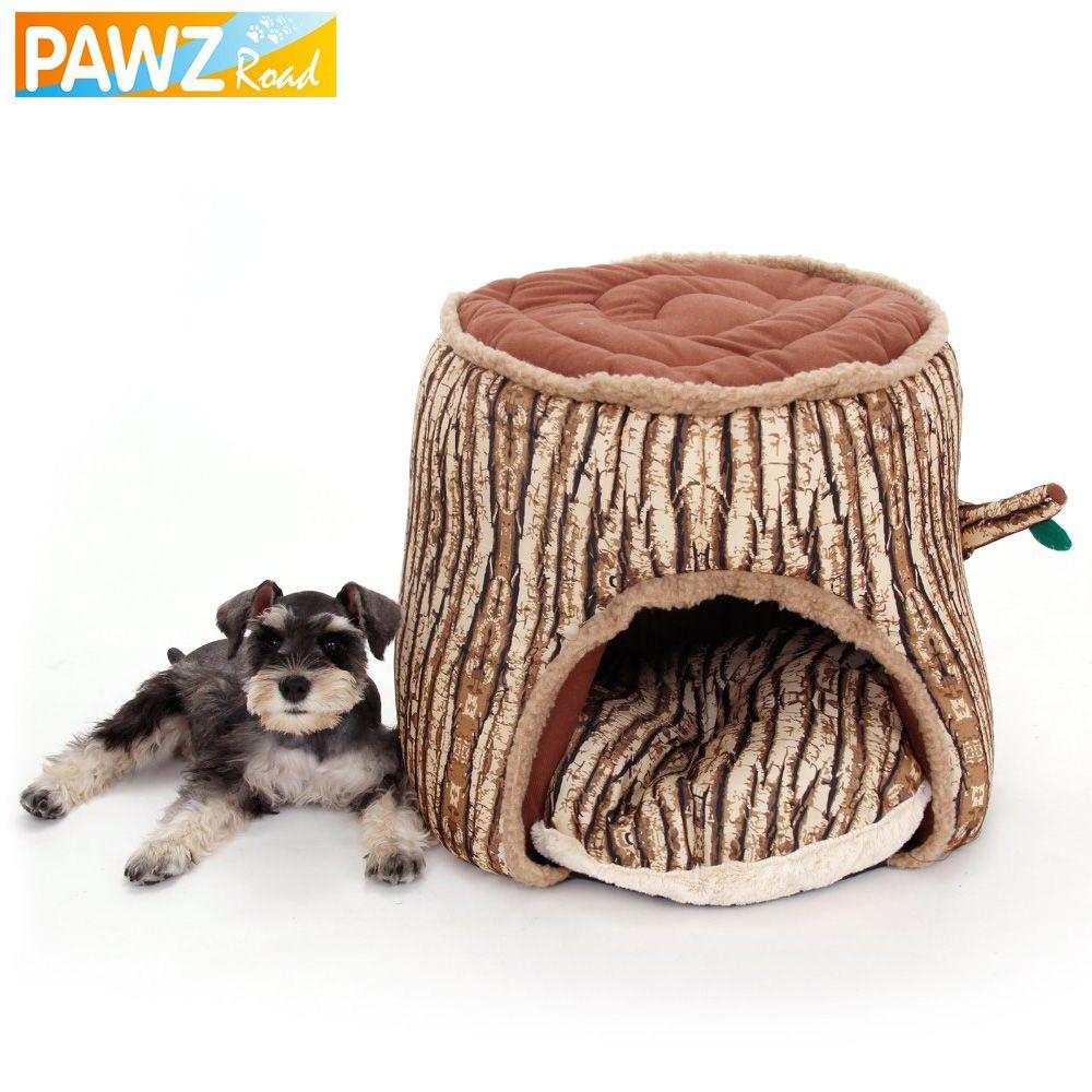 Lit pour chien Super doux chenil pour animaux de compagnie arbre souche conception chien maison lit pour chien chiot chat chaud hiver nid lit fournitures pour animaux de compagnie Design spécial