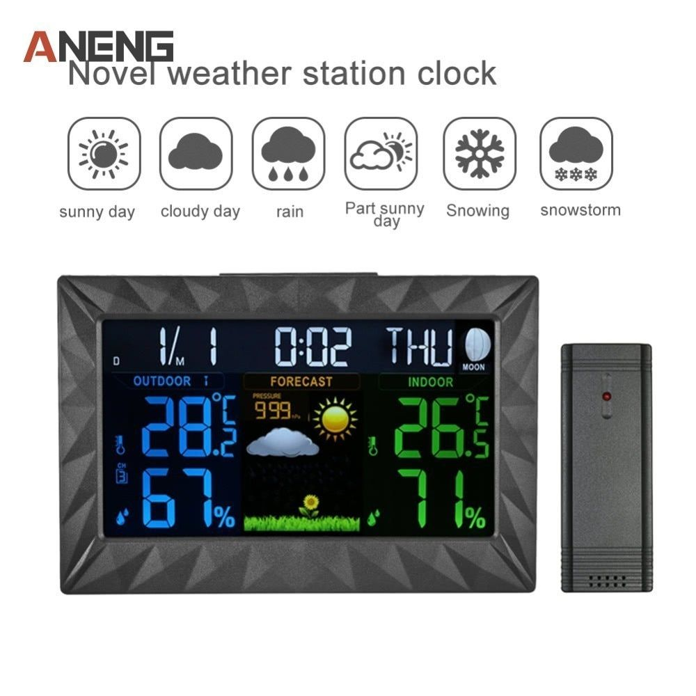 COLOR Wireless Weather Station With Forecast Temperature Humidity EU/US/UK Plug Alarm And Snooze Thermometer Hygrometer Clock
