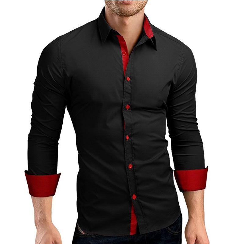 Hommes chemise marque 2018 mâle de haute qualité à manches longues chemises décontracté Hit couleur Slim Fit noir homme chemises habillées 4XL C936