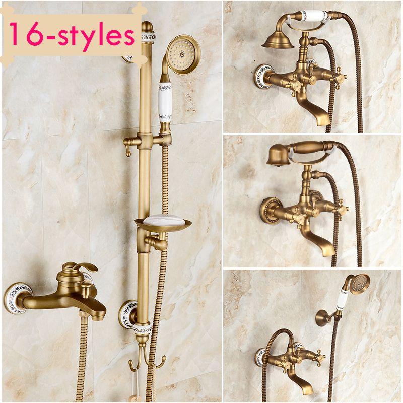 Antique Retro Copper Bath Shower Faucet Rotating Tub Filler Ceramic Style Lift Sliding Bar With Soap Dish
