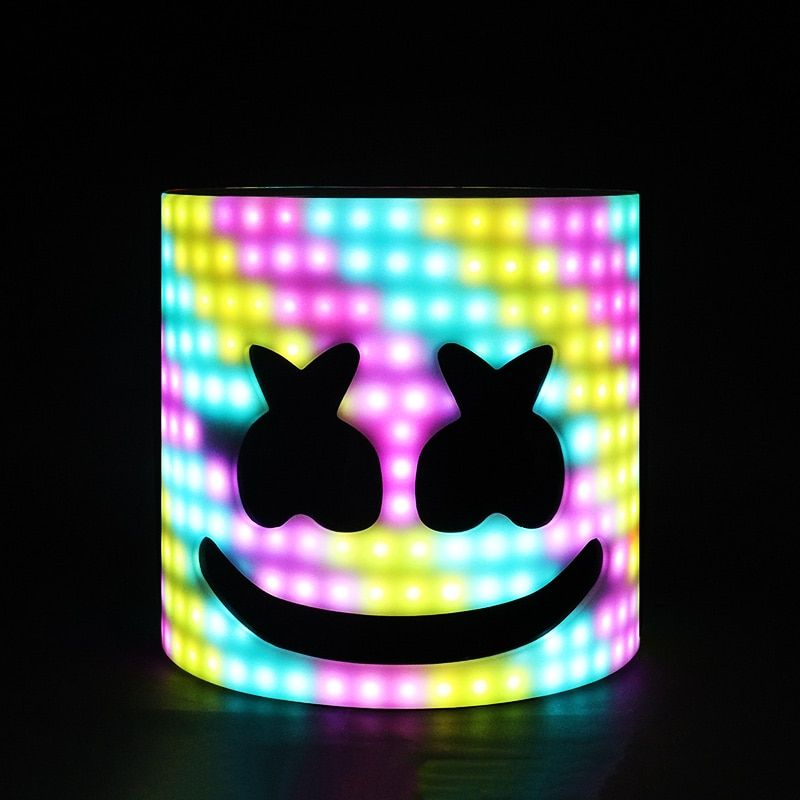 LED Arylic Type!!! 28cm 45 Styles LED DJ Mask Marshmello Helmet Marshmello DJ Mask Face Hat Music Fans Concert Props Helm