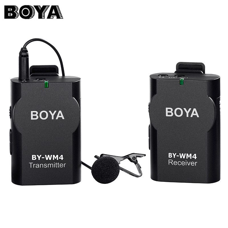 BOYA BY-WM4 Professional Wireless Microphone Lavalier Lapel Mic for Canon Cameras for Iphone Smartphones DSLR Camcorder Recorder