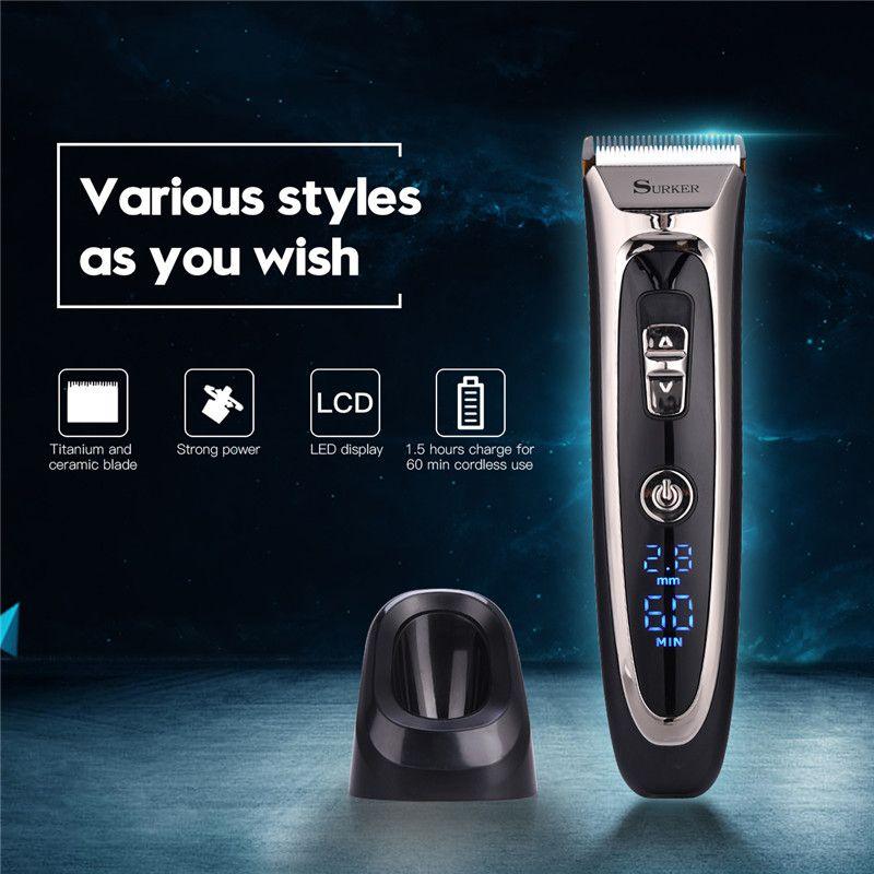 Barber Professional Hair Clipper Hair Trimmer Beard Men Electric Hair Cutting Machine Rechargeable Haircut Tool Li-battery S47