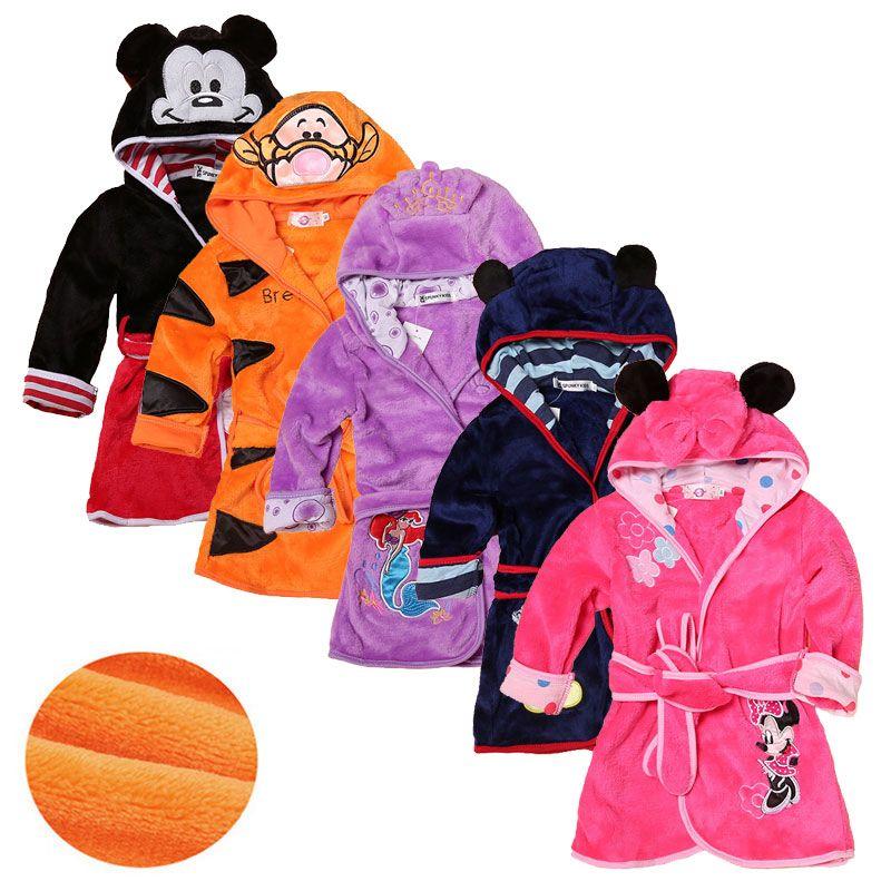 Robe de bande dessinée pour enfants flanelle bébé peignoir à manches longues à capuchon enfants Robe de bain belle Animal enfant garçon filles Robes enfants vêtements