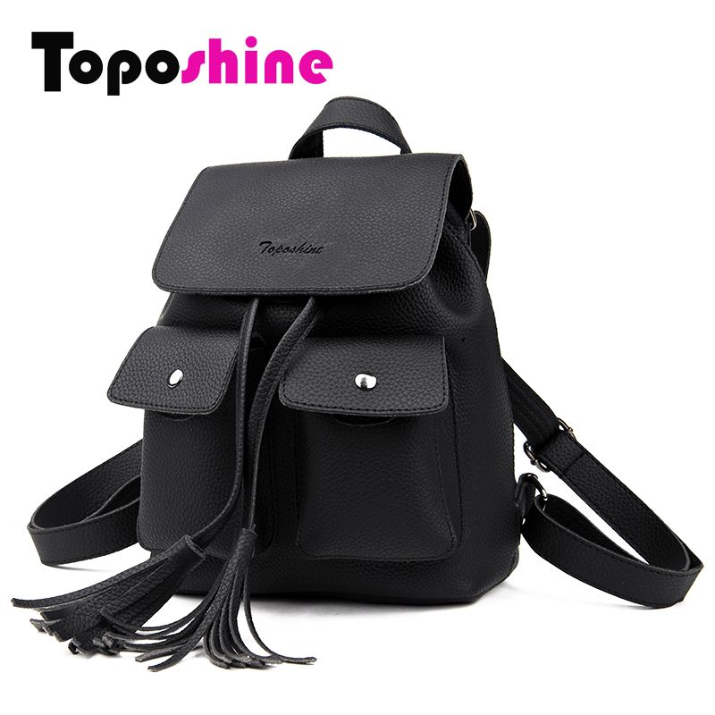 Toposhine 2017 Fashion Tassel Girl Backpacks Small PU Leather Cute Women Backpack Fashion Lady Shoulder Bag Rivet Schoolbag 1731